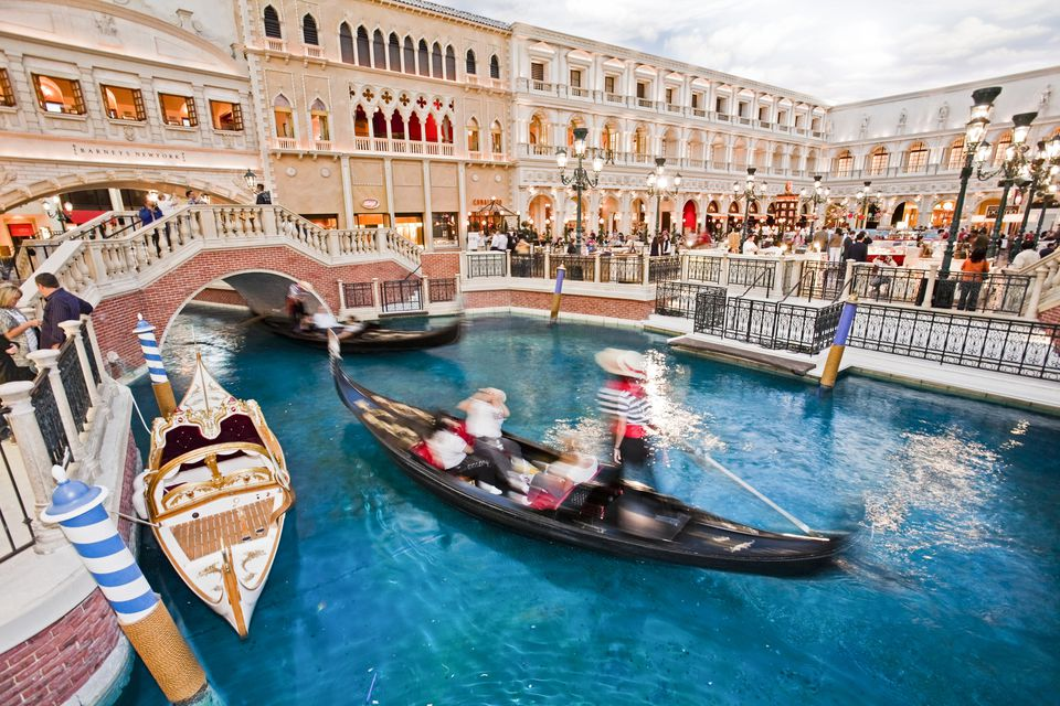 Gondola rides at Venetian Hotel.