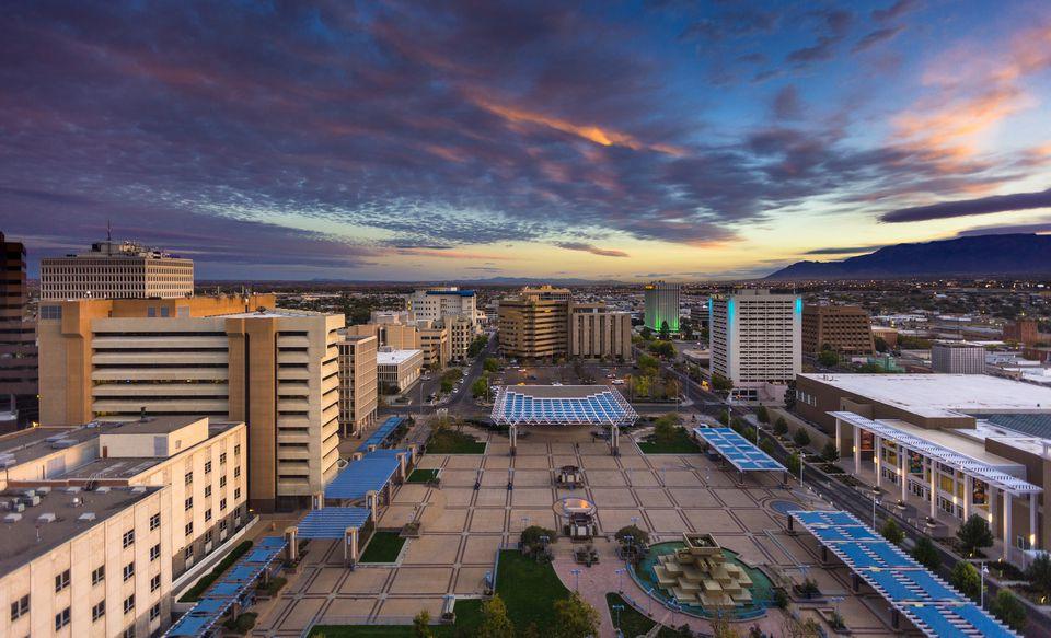 Colorful Morning Sky Over Civic Plaza, Albuquerque