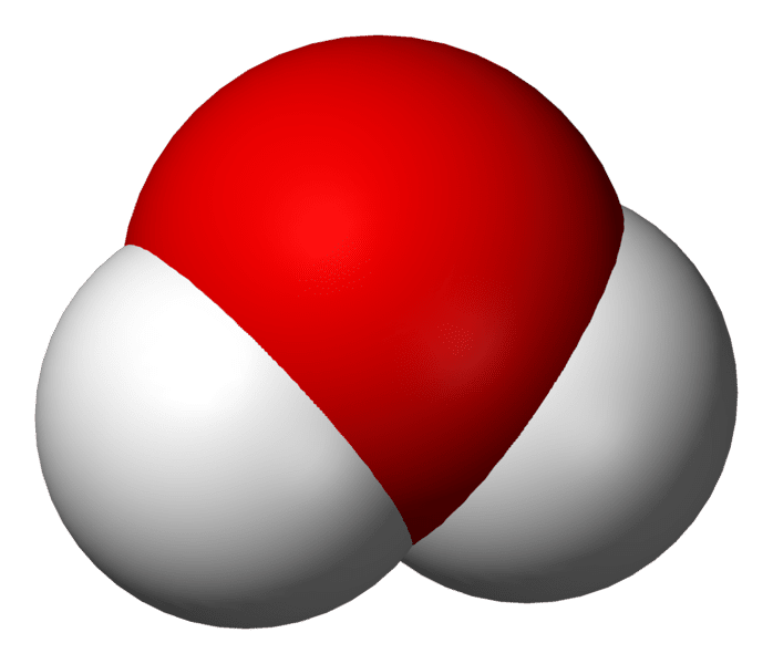 Three-dimensional molecular structure of water, H2O.