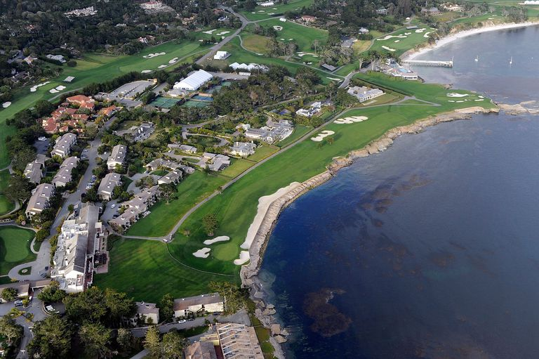 Aerial view of the 18th hole at Pebble Beach Golf Links