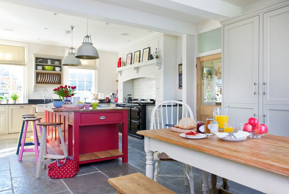 red, pink and blue kitchen