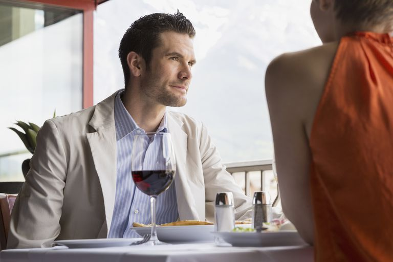 Man on a date with a woman