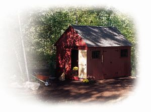 A small red shed.