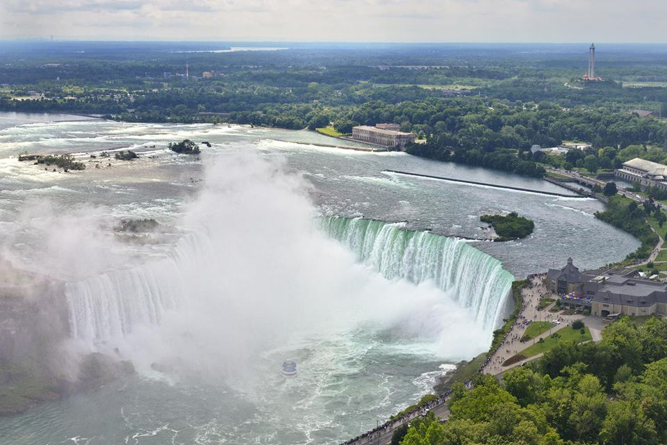 Aerial view of Niagara Falls from the Canadian side