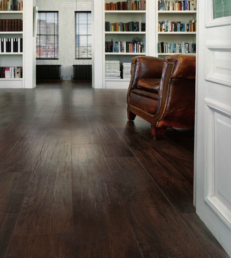 Luxury vinyl plank flooring that looks like wood for Dark wood vinyl flooring