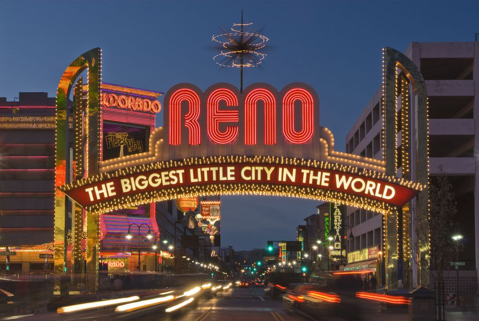 Reno, The biggest little city in the world famous neon sign.