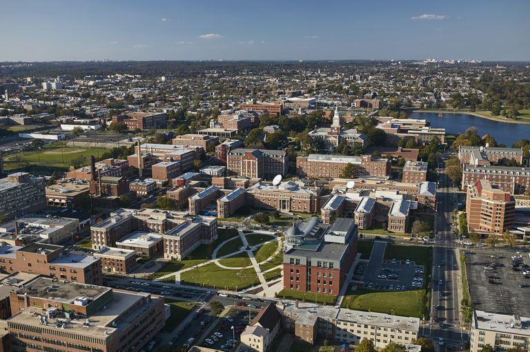 USA, Washington, D.C., Aerial photograph of Howard University campus