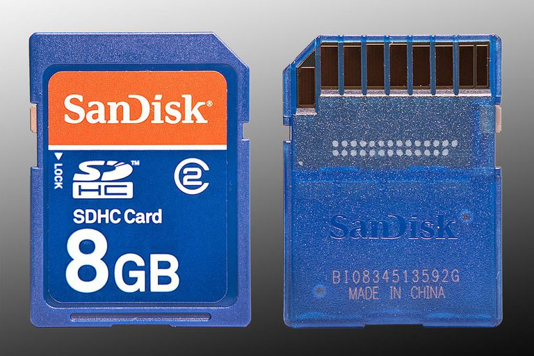 Image of the front and back of an 8GB SanDisk SDHC Memory Card