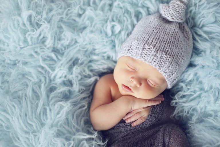 Newborn baby in blue