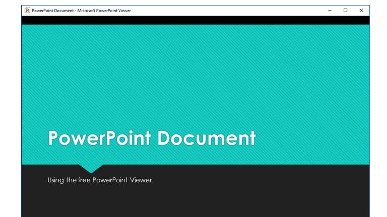 Screenshot of Microsoft's free PowerPoint Viewer program