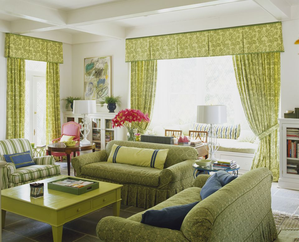 Bright Green Fabrics in Living Room with Window Seat