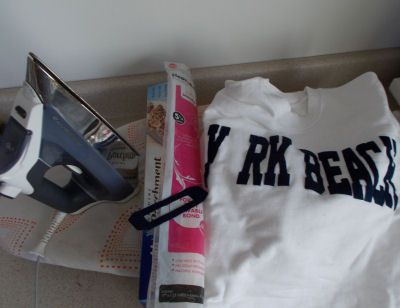 the supplies to fix letters that fell of a sweatshirt in the dryer