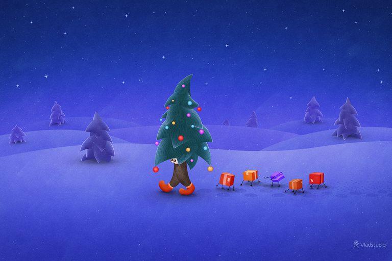 Vladstudio Traveling Christmas Tree Wallpaper