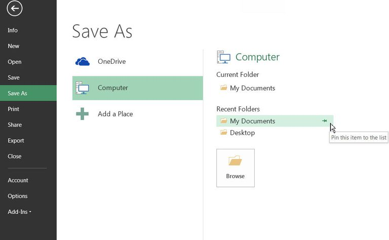 Save files in Excel with shortcut keys