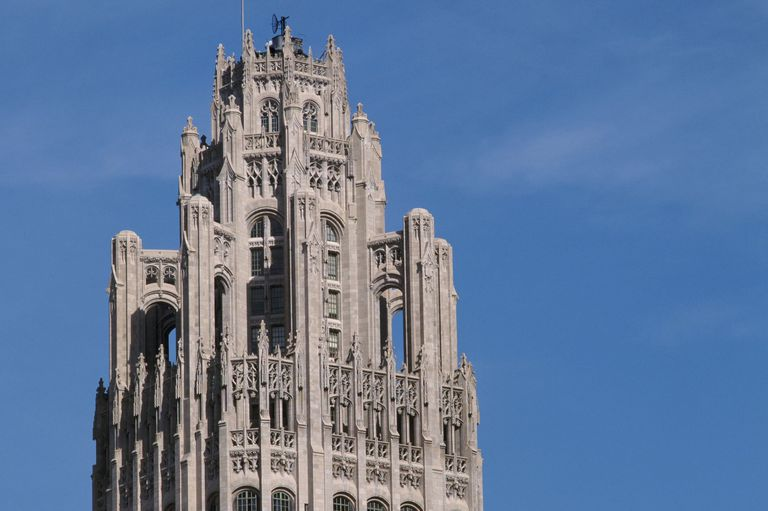 Gothic Revival style Top of the Tribune Tower