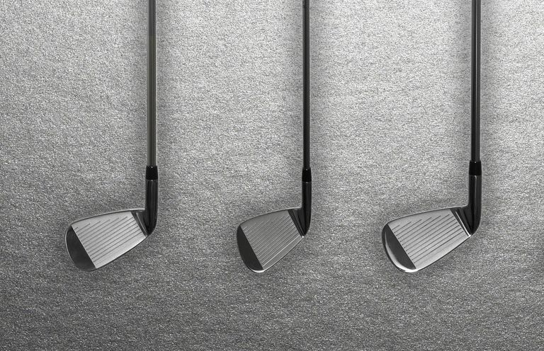 three golf irons side by side