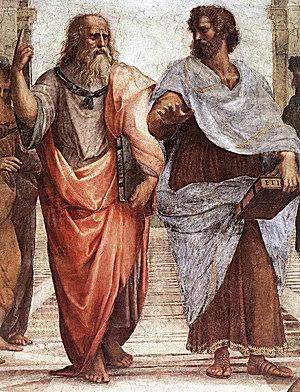 Fresco of Plato and Aristotle, from Scuola di Atene, by Raphael Sanzio. 1510-11.