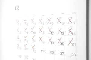 calendar with marked x's