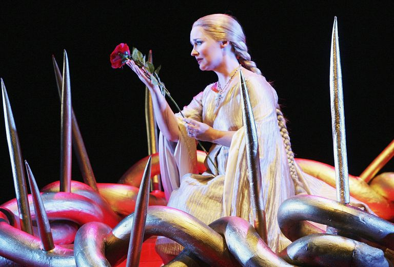 Singer Emma Matthews (Almirena) performs during a dress rehearsal of Handel's 'Rinaldo' at the Opera House on July 19, 2005 in Sydney, Australia.
