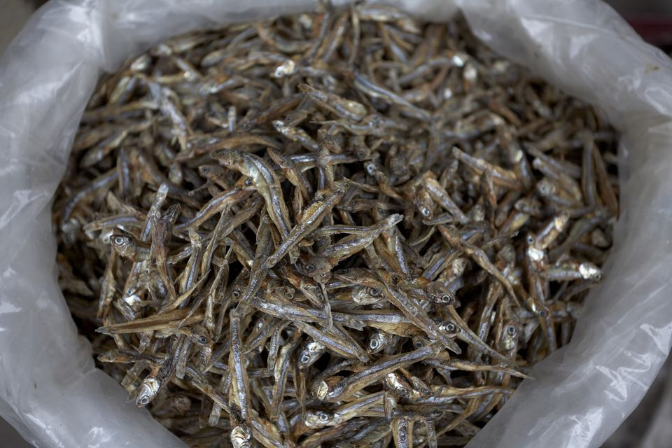 a bag of dry anchovies
