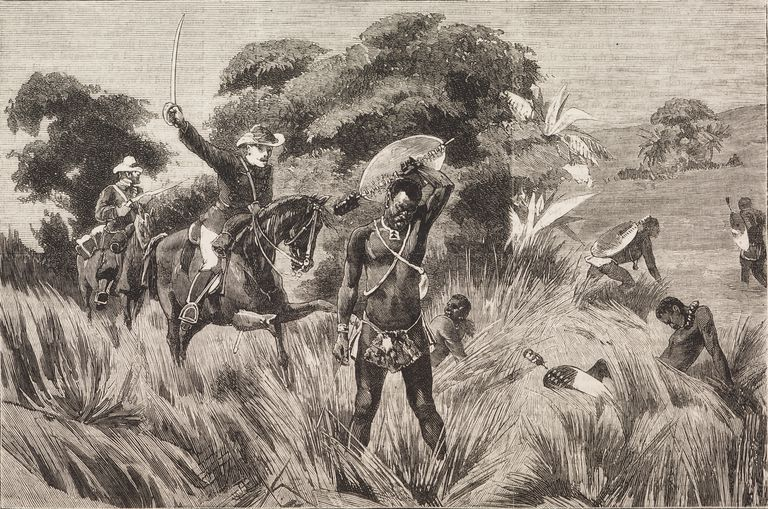 Death of Zulu warrior, incidents at Ulundi, end of Anglo-Boer War, illustration from magazine Graphic, volume XX, no 513, September 27, 1879