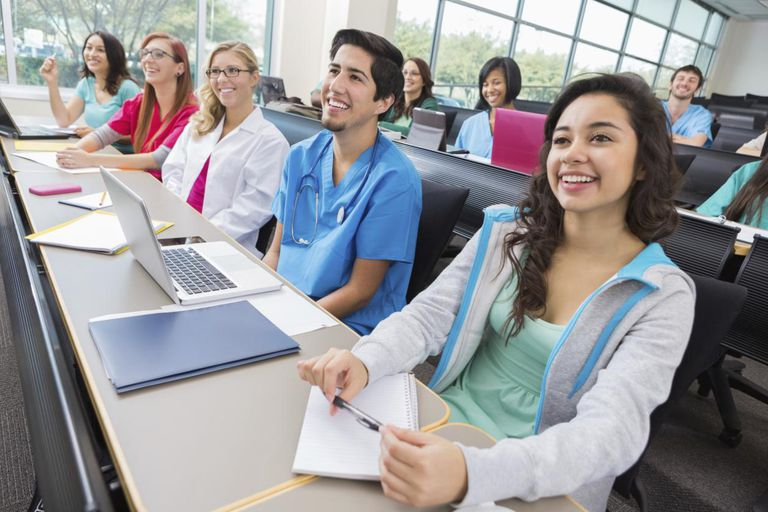 Nursing or medical students in college lecture hall classroom