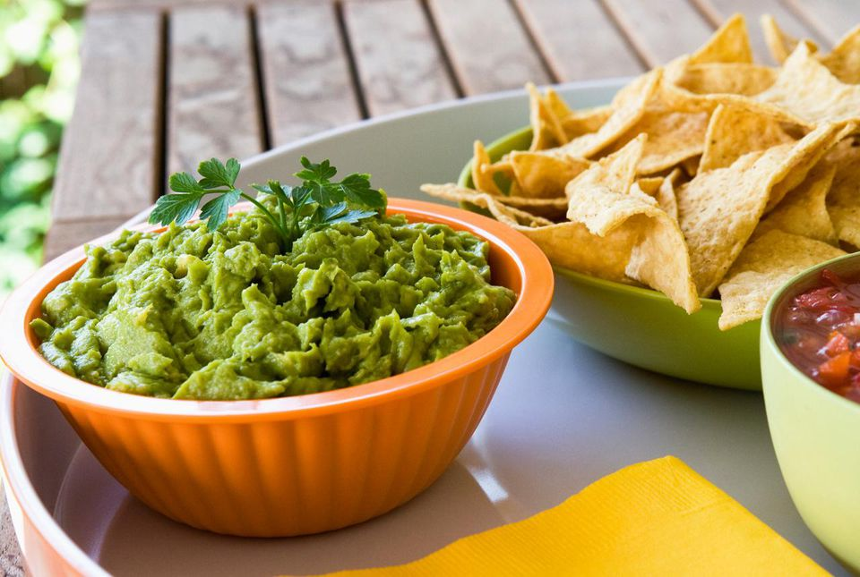 Tortilla chips, guacamole and salsa