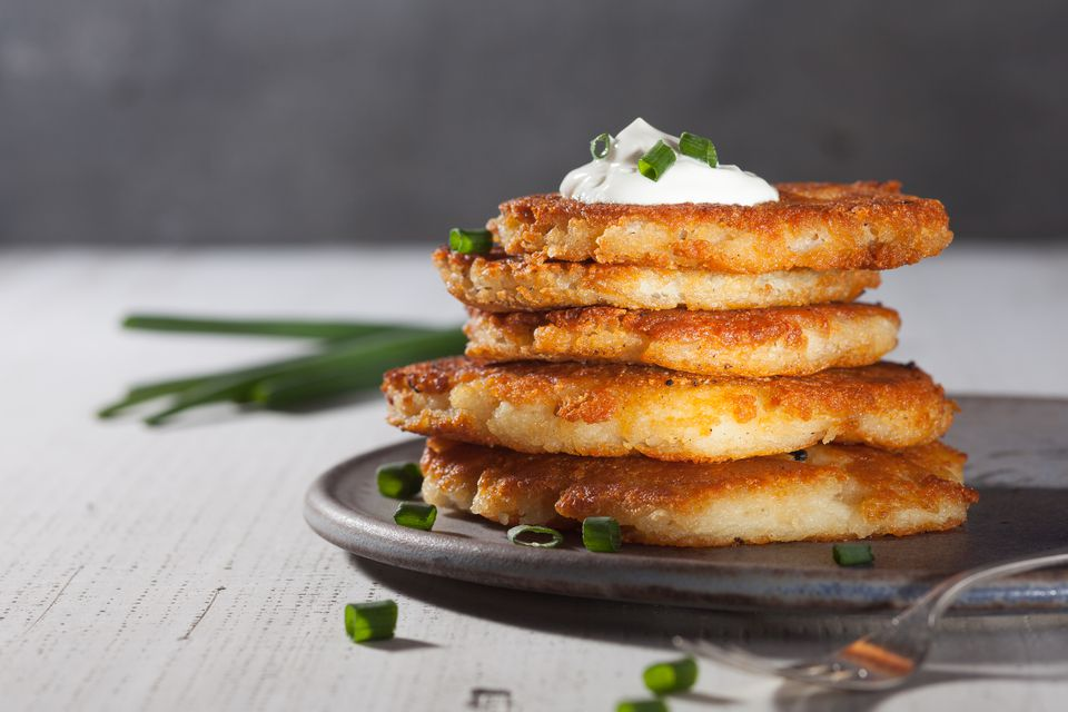 Irish Potato Cakes With Sour Cream Sauce