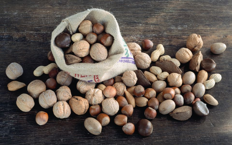 Assorted whole nuts in sack