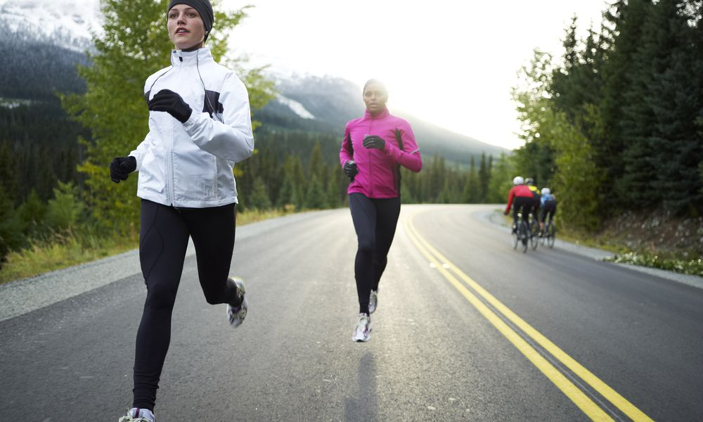 Runners wearing gloves