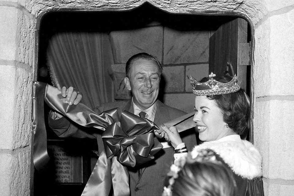Walt Disney and Shirley Temple on Disneyland Opening Day