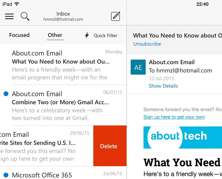 Swipe to Delete in Outlook for iOS