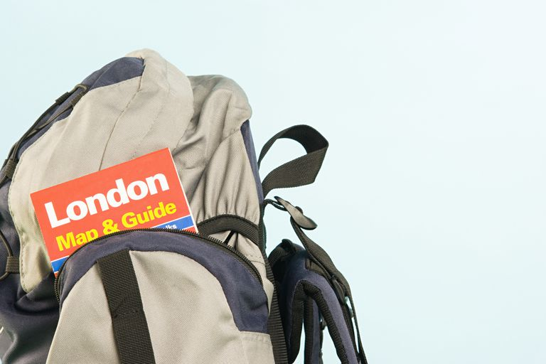 Map of London in a backpack