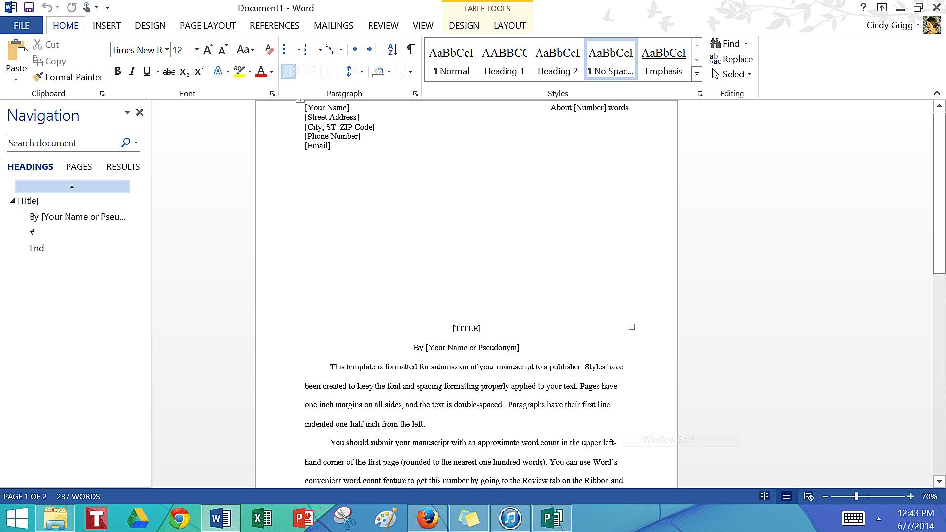 novel writing template microsoft word