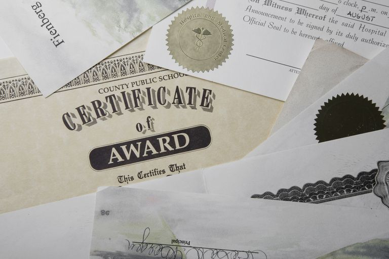 Close up of a certificate