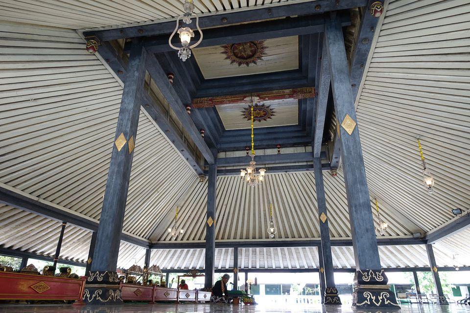 Pendopo pavilion at the Kraton in Yogyakarta, Indonesia