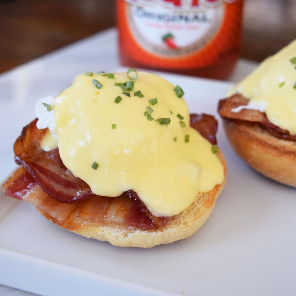 spicy bacon eggs benedict