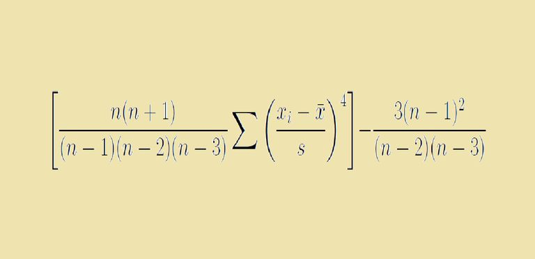 The formula for kurtosis in Excel.