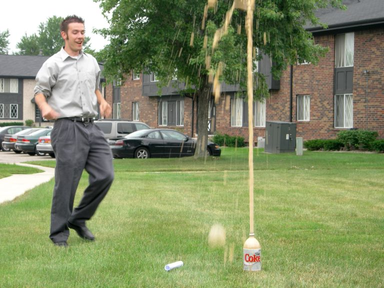 Why diet soda for the Mentos and diet soda geyser? It's a lot less sticky!