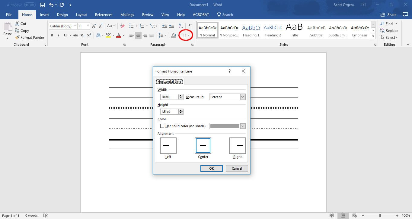 Use the insert line tool in Word to add horizontal lines.