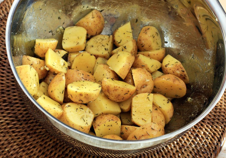 Roasted New Potatoes, Tossed With Oil and Herbs