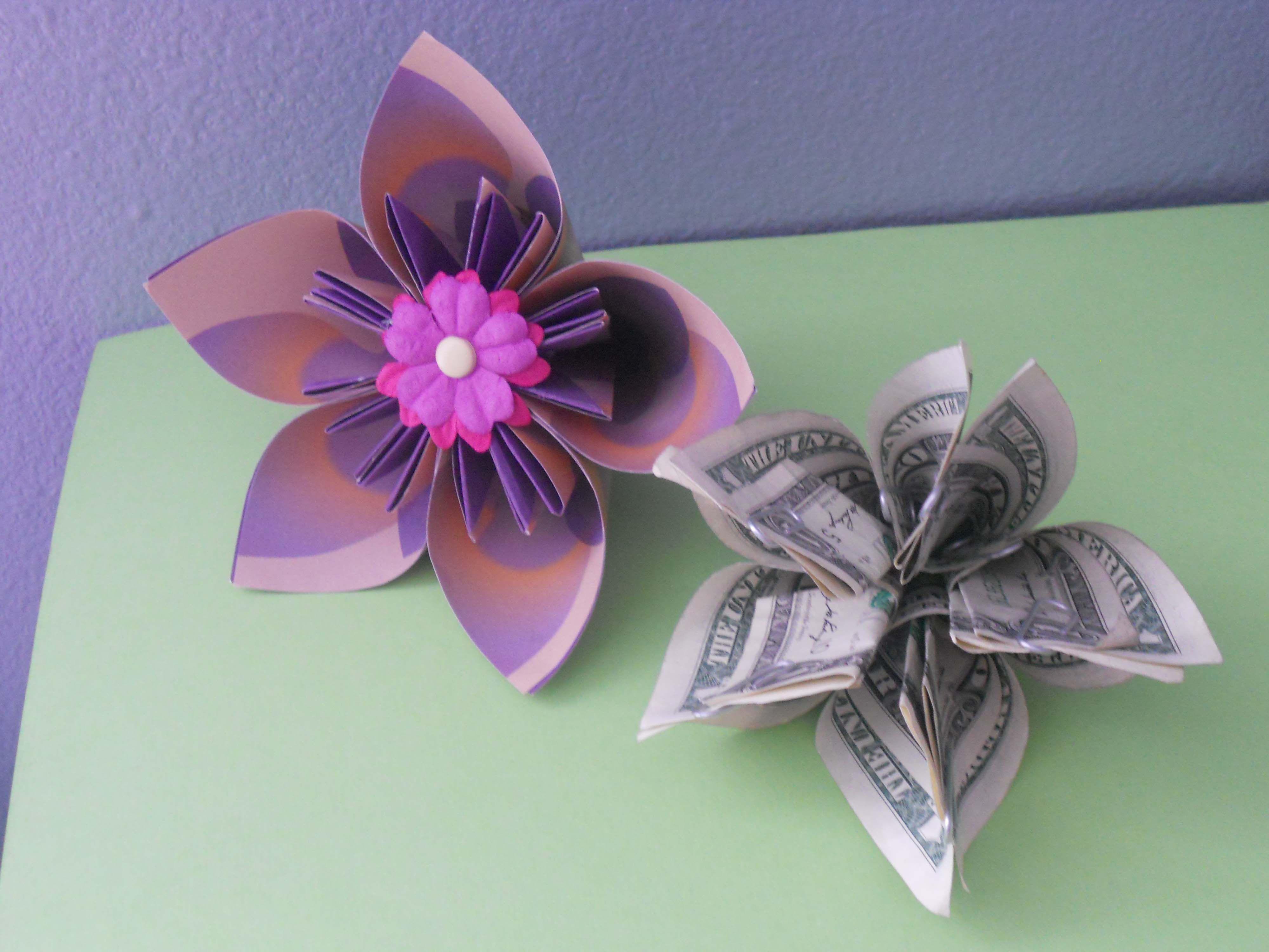 how to make a money origami kusudama flower