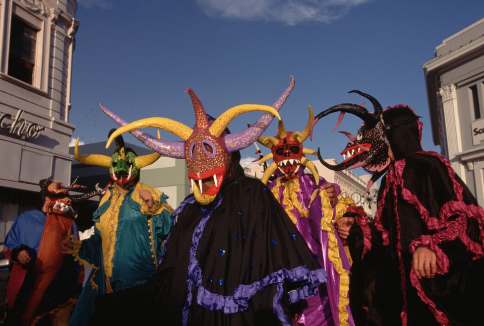 Celebrants wear scary masks at a carnival in Ponce, Puerto Rico.