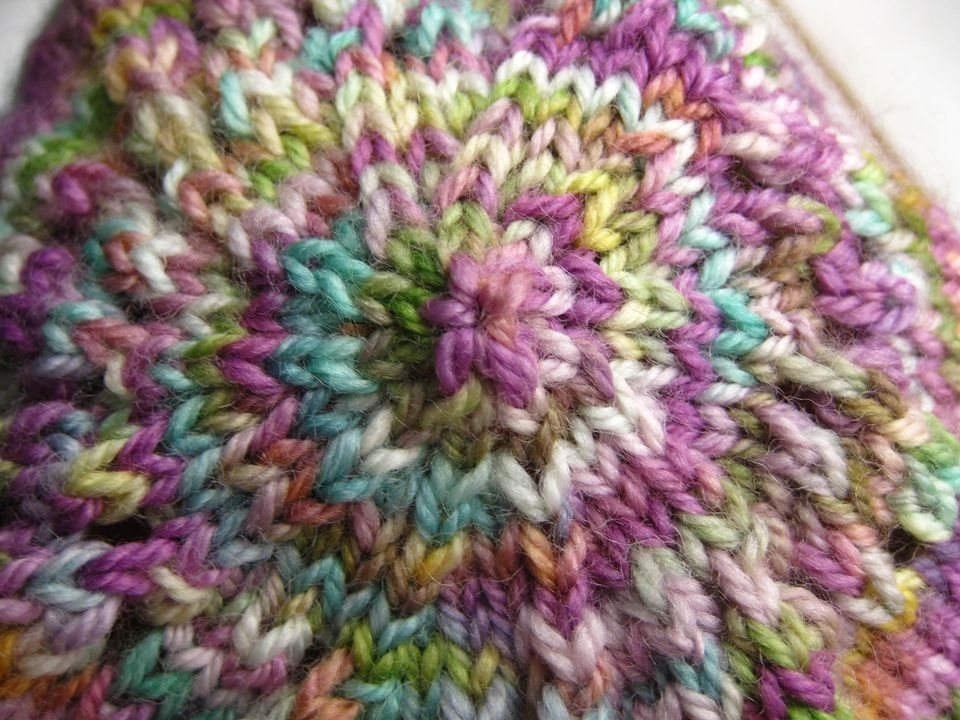 Top detail of a stockinette stitch hat