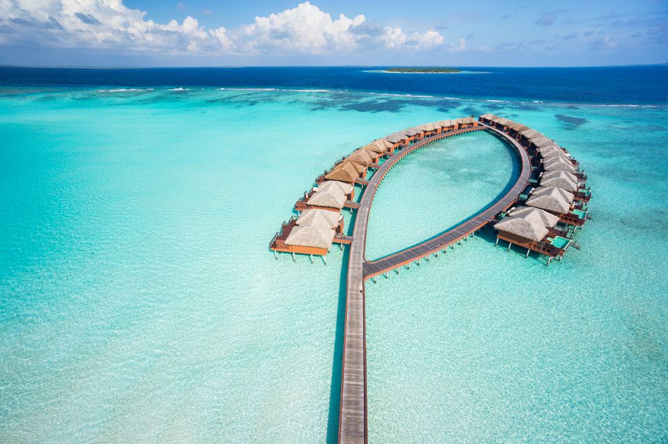 bird's eye view luxury overwater villas