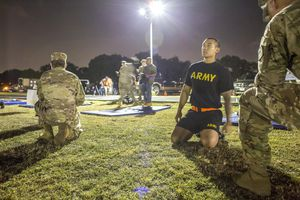 Soldier doing fitness at Joint Base San Antonio