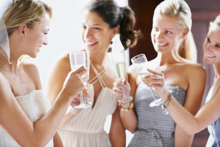 South Africa,Cape Town, Bride and bridesmaids toasting