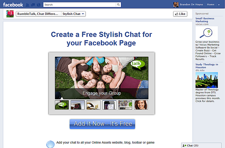 RumbleTalk Chat Rooms for Facebook Pages