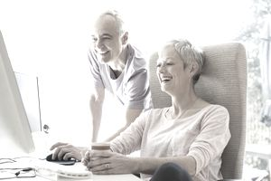 Couple researching life expectancy.