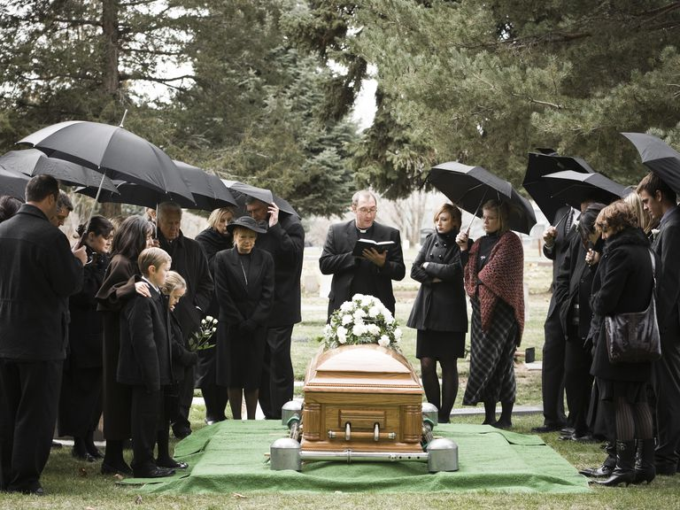people at a funeral